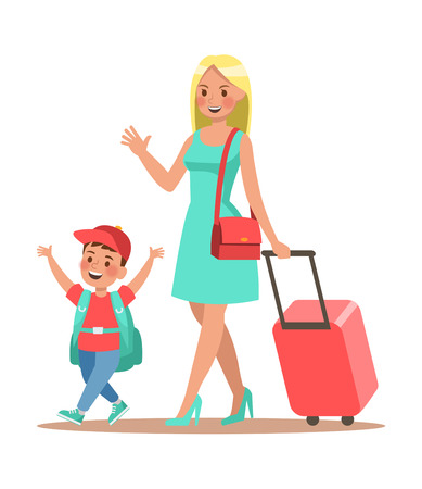 Family lifestyle. Family travel time. Happy family go to travel. Vector illustration design. No5