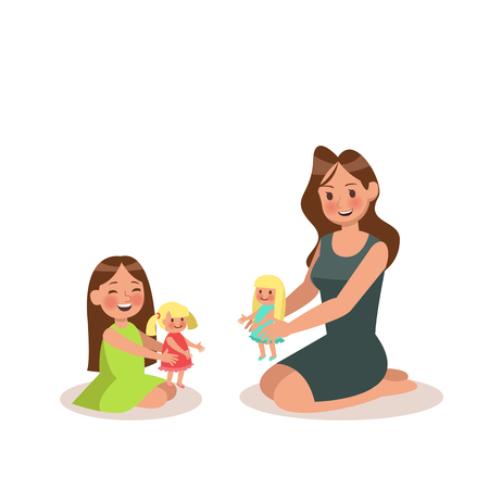 Mom and daughter playing doll. character design