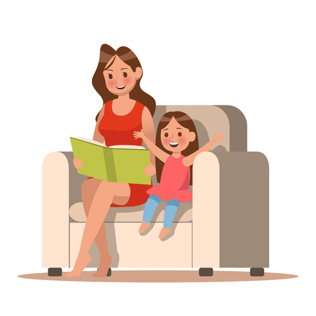 Mom and daughter reading a book. character design.
