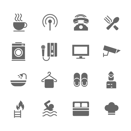 Set of Hotel Vector Icons. Includes coffee, breakfast, washing, telephone and more. Vector Illustration