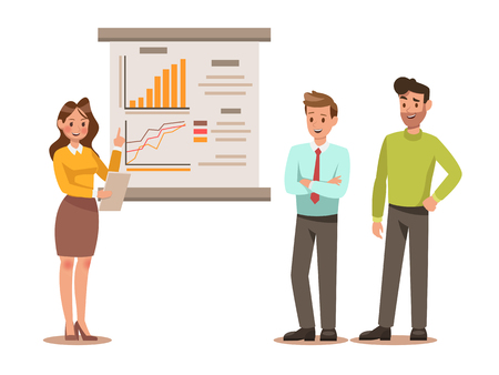 Set of business characters working in office. Vector illustration design No.7