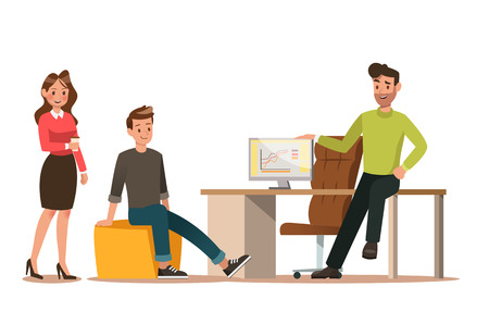 Set of business characters working in office. Vector illustration design No.9