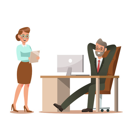 Set of business characters working in office. Vector illustration design No.10 일러스트