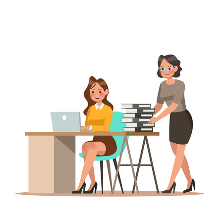 Set of business characters working in office. Vector illustration design No.11