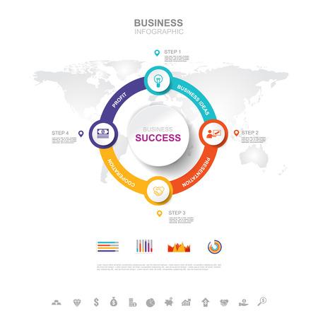 Infographie d'entreprise Concept de réussite commerciale avec graphique. conception de vecteur. Vecteurs