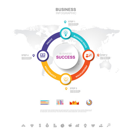 Business infographic Business success concept with graph. vector design. Illustration