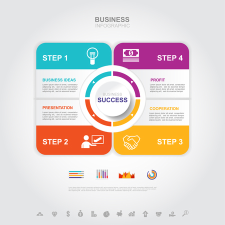 Business infographic Business success concept with graph. vector design. no7