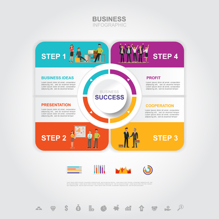Business infographic Business success concept with graph. vector design. no8 일러스트
