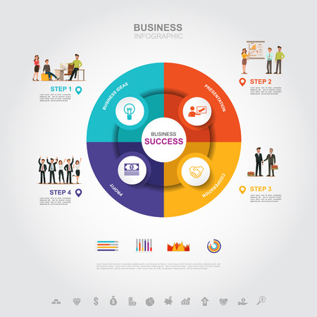 Business infographic Business success concept with graph. vector design. no10