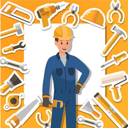 Craftsman working and construction tools. Icon design. no2 일러스트