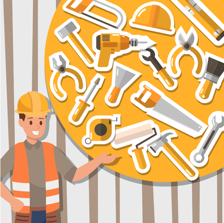 Craftsman working and construction tools. Icon design.