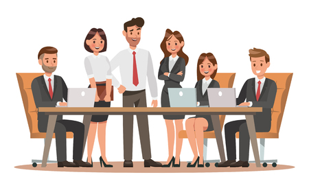 Set of business characters working in office. Vector illustration design 向量圖像