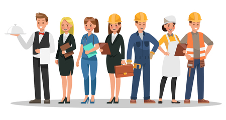 career characters design. Include waiter, businesswoman, engineer, doctor