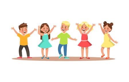 Happy child character design. Child dancing vector.