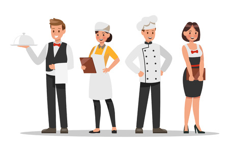 Restaurant staff characters design. Include chef, assistants, manager , waitress . Professionals team. 일러스트