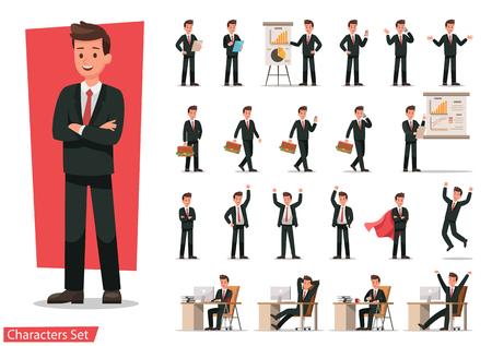 Set of Businessman character design. Stock Illustratie