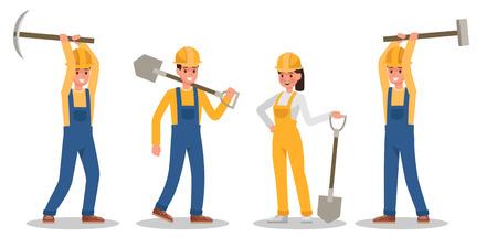 Construction Worker character vector design no4