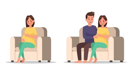 pregnant woman character vector design no2