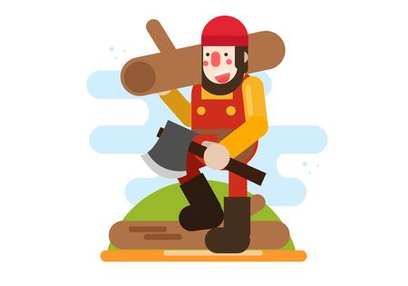 Character design Carpenter career vector design