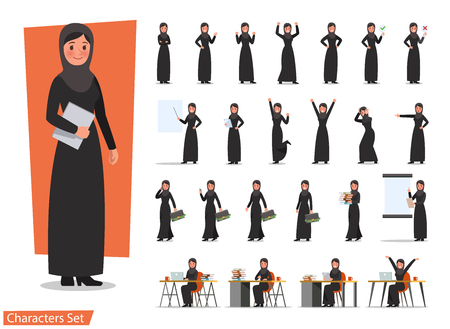 set of business woman character poses