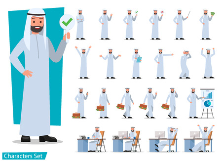 set of businessman character poses no 16 向量圖像
