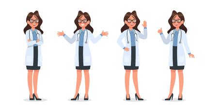 Conjunto de diseño de personajes de Doctor. no11 Ilustración de vector