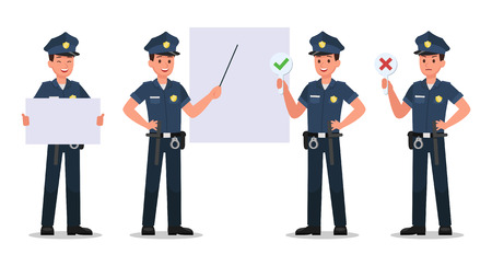conception de vecteur de personnage de police no2 Vecteurs