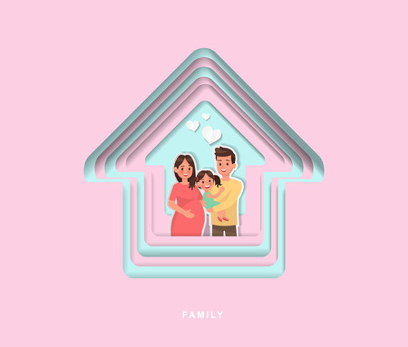 paper cut style family character vector design no2