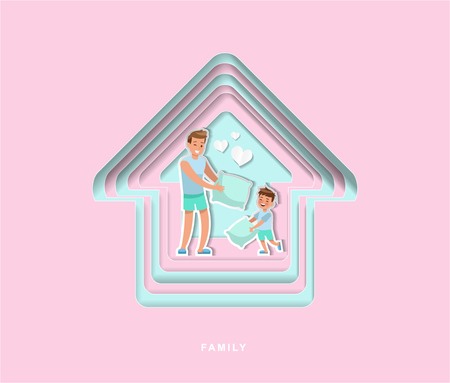 paper cut style family character vector design no3