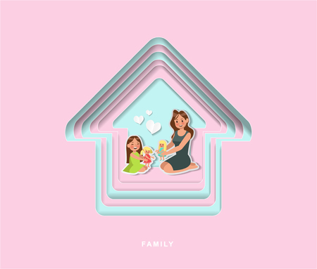 paper cut style family character vector design no4 Ilustração