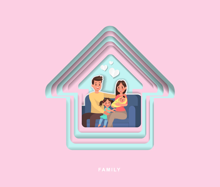 paper cut style family character vector design