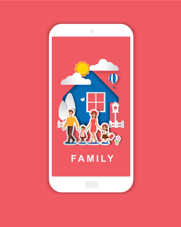 Family character vector design. For mobile app banner. Paper art style. no5