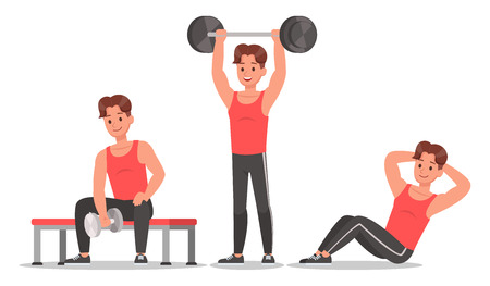 Fitness man doing exercise character vector design. Healthy lifestyle no7