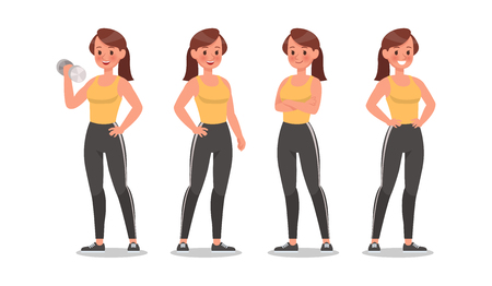 Fitness woman doing exercise character vector design. Healthy lifestyle Ilustração