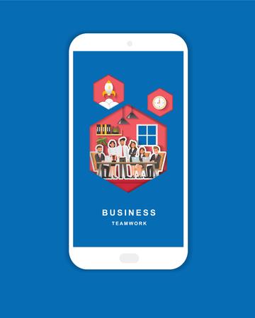Business Teamwork character design. Vector illustration design. For mobile app banner. Paper art style. Ilustração