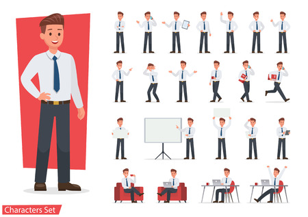 Businessman working character design set. Vector design.