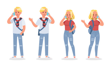Vector set of students young man and young woman character design. no4
