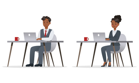 business people working in office character vector design. no18 Illustration
