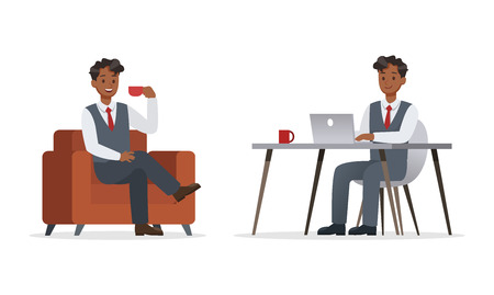 businessman working in office character vector design.No11