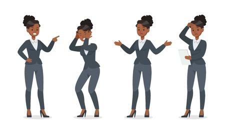 businesswoman working in office character vector design no.10 Ilustração