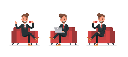 Set of Businessman character vector design. no10 Vetores