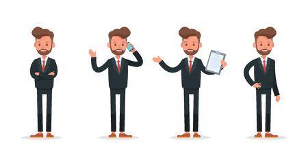 Set of Businessman character vector design.