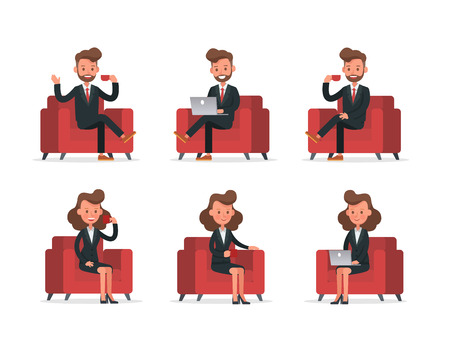 Set of Businessman and Businesswoman character vector design. no10