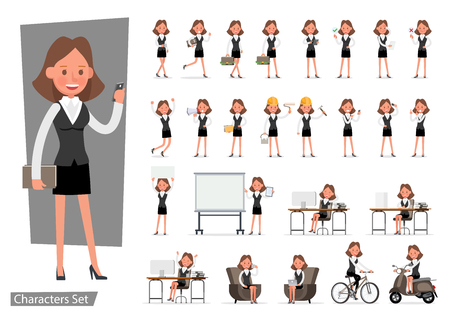 Set of Businesswoman character vector design. no33