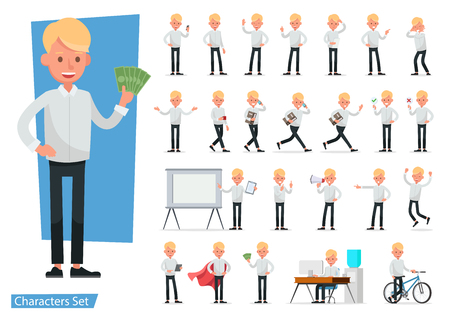 Set of Businessman character vector design. no49