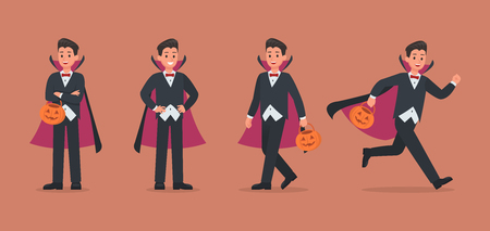 Halloween dracula with pumpkin character vector design. no4