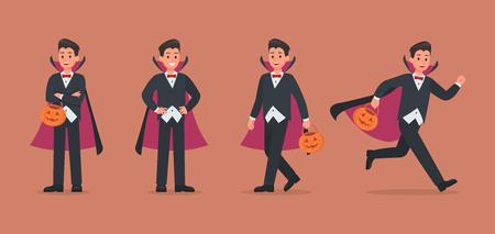 Halloween dracula with pumpkin character vector design. no4 Ilustración de vector