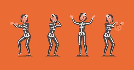 Halloween skeleton Costumes  with pumpkin character vector design. no4 Ilustração