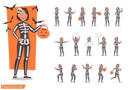 Halloween skeleton Costumes  with pumpkin character vector design. no5