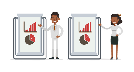 Set of Businessman and Businesswoman character vector design. Presentation in various action with emotions and working. no46 Illustration